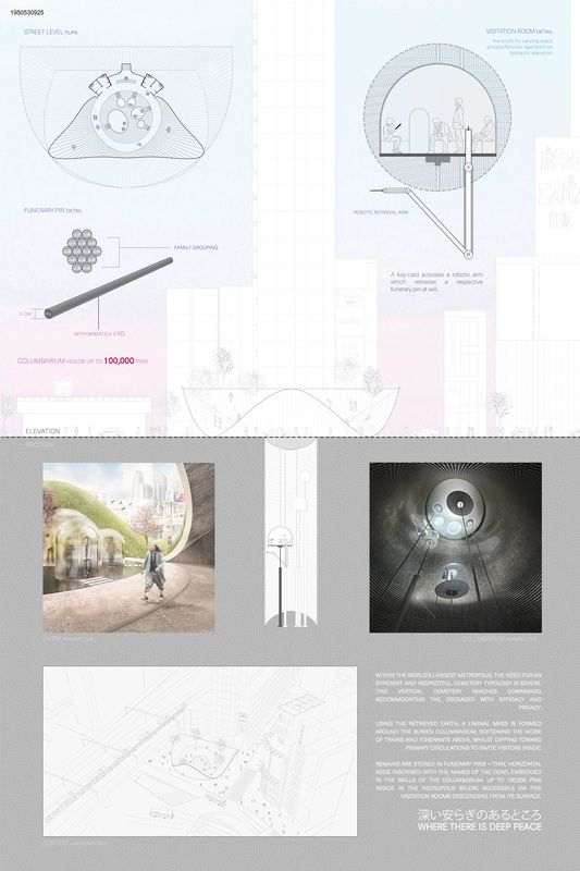 """"""" WHERE THERE IS DEEP PEACE """" - Tokyo Vertical Cemetery competition finalist"""