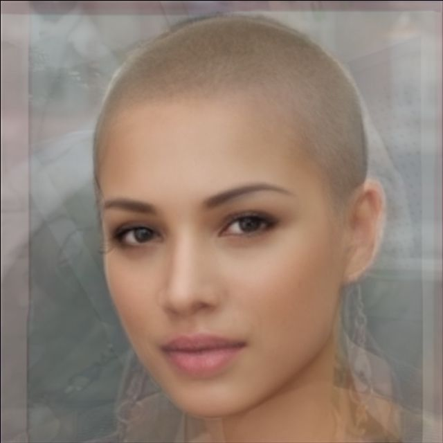 Average face of ten women with buzz cuts