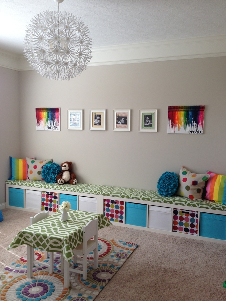 Ikea playroom storage. Love the gray with rainbow colors!