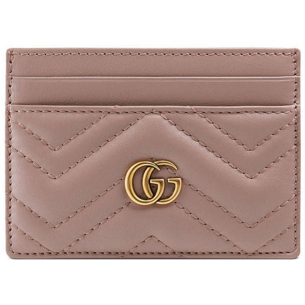 Gucci Gg Marmont Card Case ($230)  liked on Polyvore featuring bags, wallets, nude, genuine leather wallet, gucci, card carrier wallet, 100 leather wallet and brown wallet