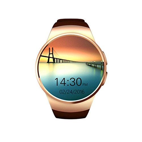 Smart Watch Bluetooth with Heart Rate Monitoring Pedometer Calories Records Support SIM TF Card (Gold) 59.99  #Clock,Calendar,Stopwatch,Calculato,HeartRateMonitor,HeartRateMonitor,BluetoothSyncedInformation,GSensor,Motor,Mic,Speaker,SIMCard,Button,RotaryKnobButton. #gold #kantianKONG #NFC:BluetoothPairing,BusinessCardExchange,InformationExchange....