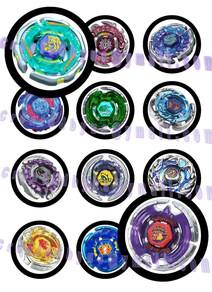 12 precut edible beyblade toppers cupcake toppers for Anime beyblade cake topper decoration set