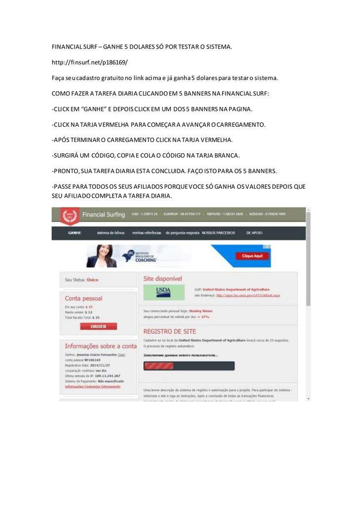 Finsurf-como fazer a tarefa diaria na financial surf by Network Marketing-mmn-mlm via slideshare