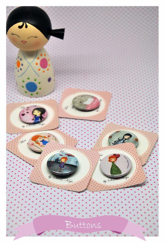 Buttons - ♥Der Weisse Schwan♥Button 25mm - ein Designerstück von kissthefrog bei DaWanda