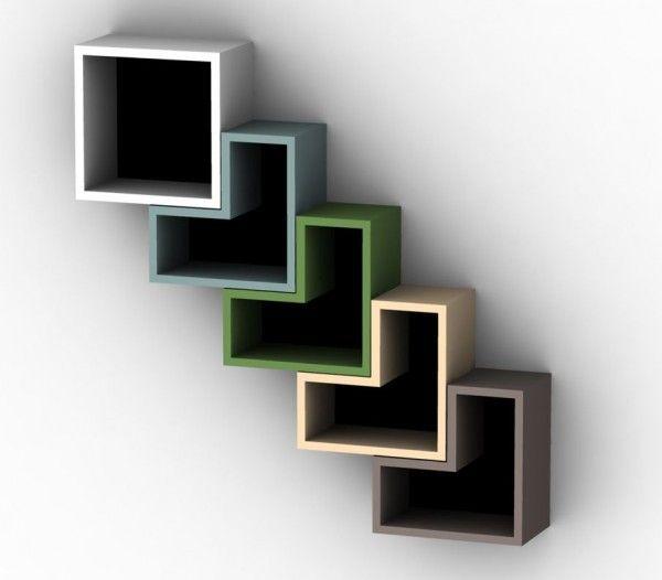 Creative bookshelves modern modular fascinating light diagonal