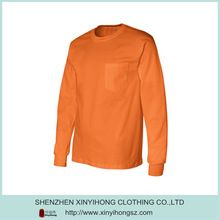 Wholesale Bright Orange Cotton Chest Pocket Long   Customize Plain O-Neck Wholesale Long Sleeve T Shirts