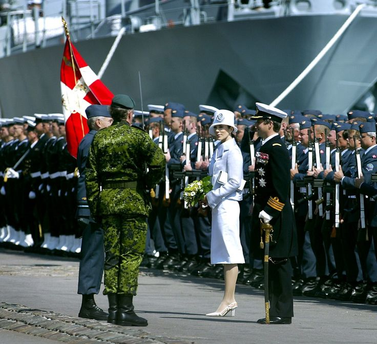 May 5 2004 Military Parade at Langelinie ~The Army, the Navy, the Air Force and the Home Guard proceeded through a very formal salute in honour of Crown Prince Frederik and Miss Mary Donaldson on land, at sea and in the air.