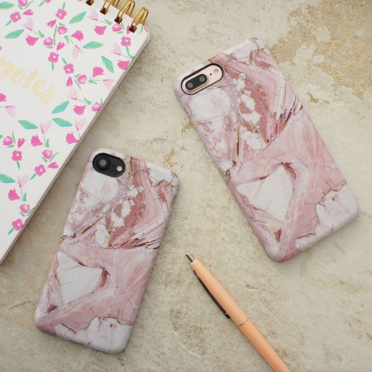 Marble in Rose  shown on iPhone 7 & iPhone 7 Plus from Elemental Cases