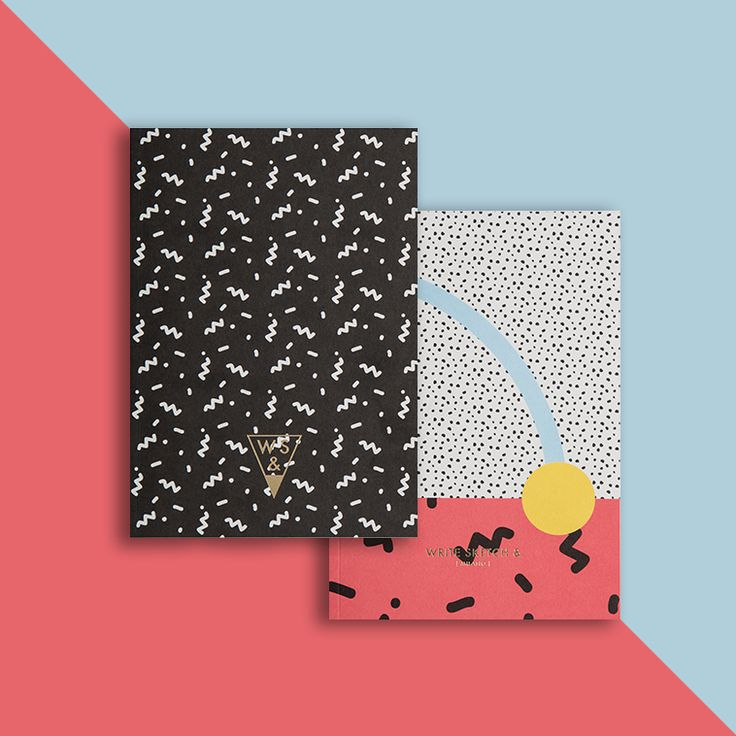 Memphis Group inspired notebook designs