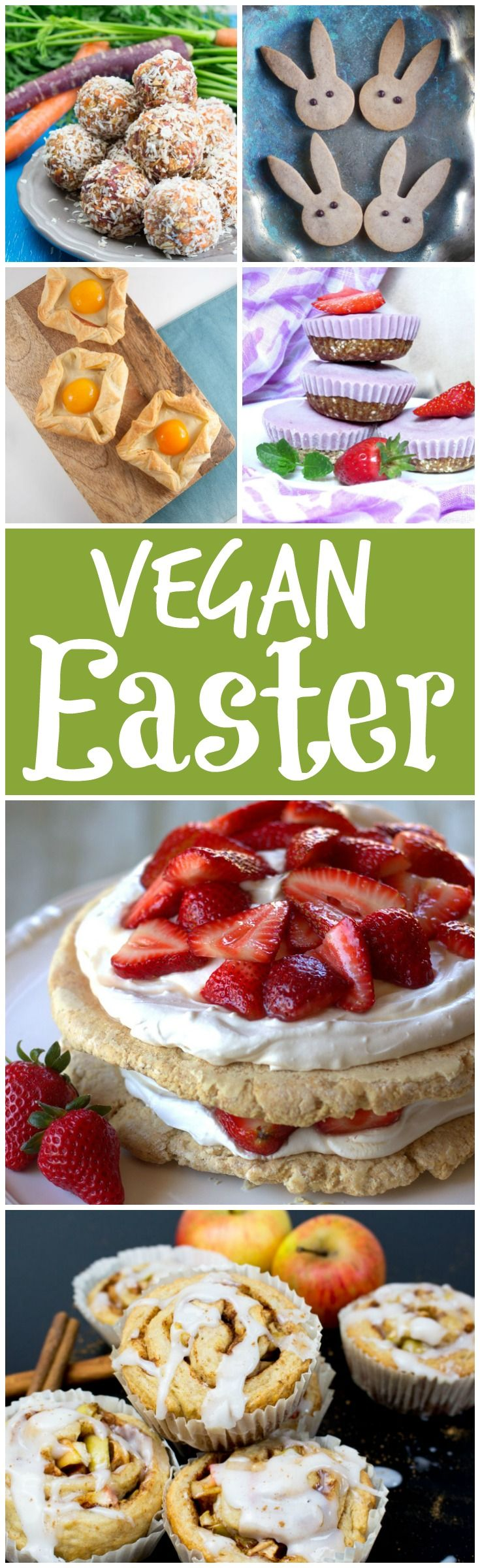 15 delicious vegan Easter recipes that will please the whole family! We've got you covered with breakfast ideas, snacks, desserts, and a couple of entrees. #vegan #Easter #spring #recipes #roundup