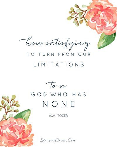 """How satisfying to turn from our limitations to a God Who has NONE"" A.W. Tozer ~ AMEN!!!"