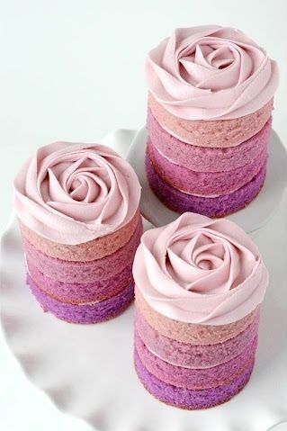 Purple Ombre Rose Mini Cakes