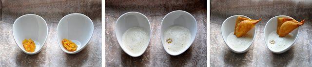 Eine feine ungewönliche Suppe für die Festtage: Räucherfischschaum, Ananas-Chutney, Garnelen-Wantan
