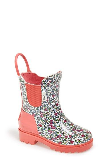 TOMS 'Ditsy - Tiny' Rain Boot (Walker & Toddler) available at #Nordstrom