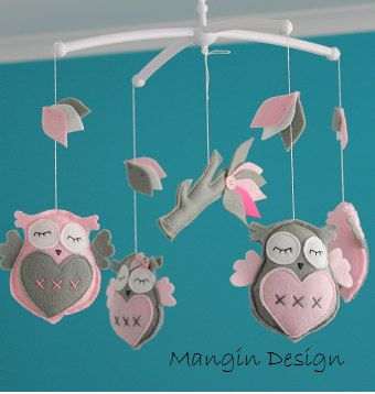 Gorgeous owl cot/crib mobile pink grey owl musical by ManginDesign