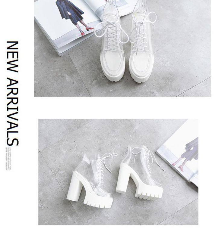 Super haute talons semelles épaisses fond En Plexiglas clair transparent cheville bottes Plate Forme des femmes anti slip bottes casual chaussures Plus La Taille dans Pompes de femmes de Chaussures sur AliExpress.com | Alibaba Group
