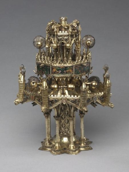 Table Fountain    France, Paris(?), 14th century    Date: c. 1300-1350    Medium: gilt-silver and translucent enamel