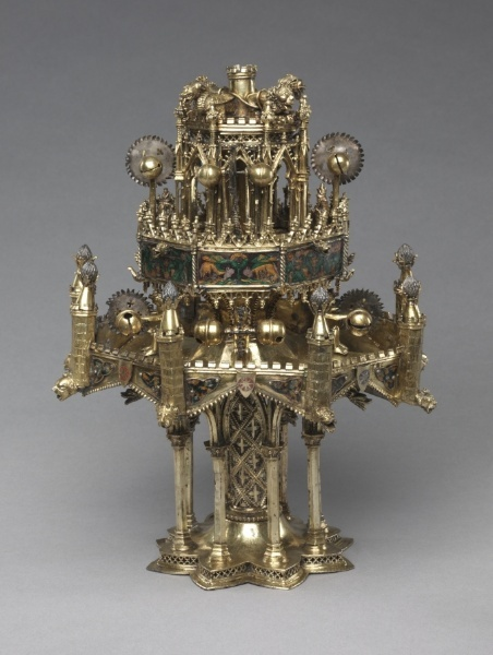Table Fountain    France, Paris(?), 14th century    Date: c. 1300-1350    Medium: gilt-silver and translucent enamel