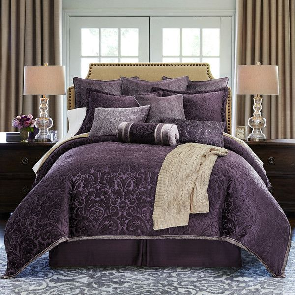 Royal Velvet Fenice 4-pc. Chenille Comforter Set ($340) ❤ liked on Polyvore featuring home, bed & bath, bedding, comforters, queen bedding, dark purple comforter, king size bedding, king size comforter set and king shams