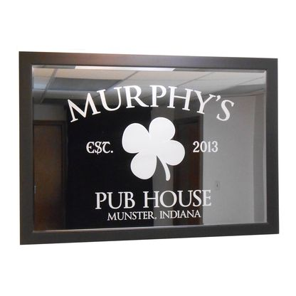 This custom pub mirror is etched with the shown pub house design and your last name or other text. Includes a black or brown solid hardwood frame.