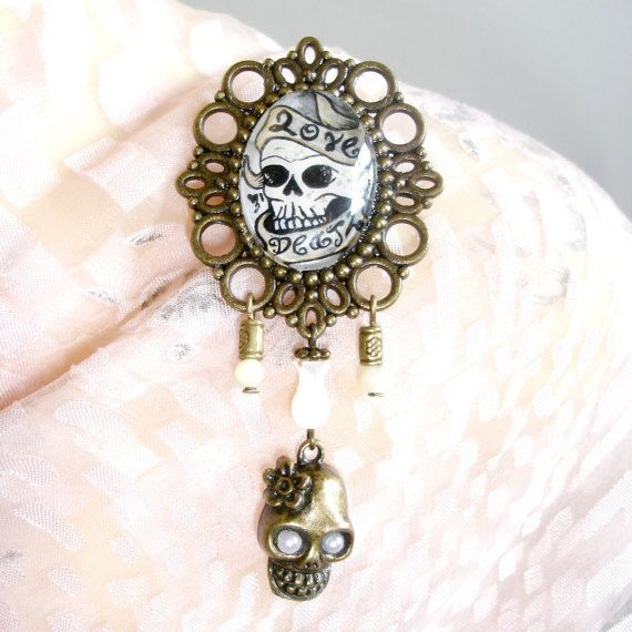 Skull Love Hate Scroll Hand Painted Art Cameo by TattooedRoZe