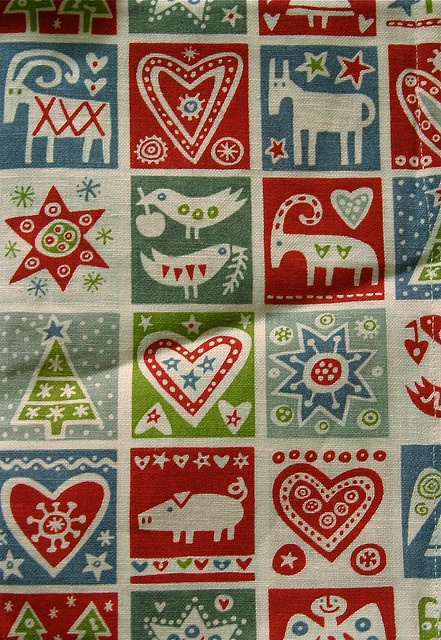 Love blues and reds. Feeling more confident and inspired now, just ensure tones same. (Scandinavian Christmas / A Modern Era Design, Printed Linens.)
