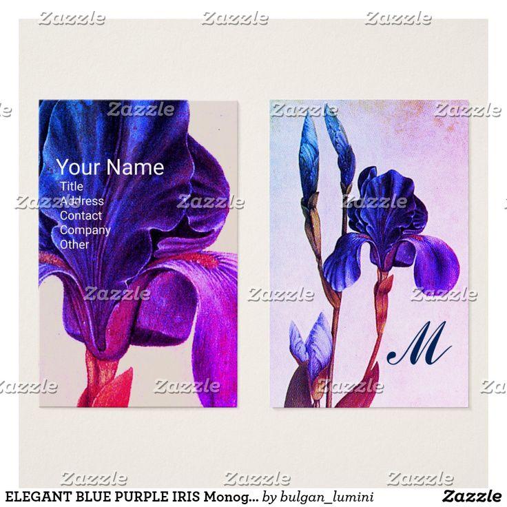 ELEGANT BLUE PURPLE IRIS Monogram Business Card #flowers #beauty #nature #florist #floral #irises #fleurdelise #art