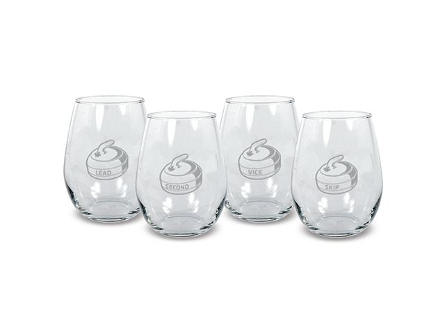 TSN - Curling Positions Stemless Wine Glass Set