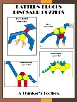 Pattern Blocks Dinosaur Puzzles by A Thinker's Toolbox. Included are 4 Dinosaur puzzles; a t-rex, pterodactyl, stegosaurs, and a brontosaurus.