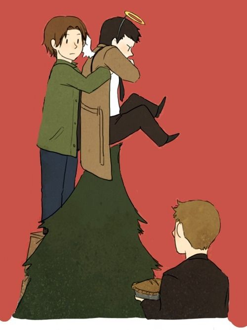 """Sammy, what the hell r u doing with my angel?"" ""We needed something for the tree topper.  Cas volunteered.""  ""I most certainly did not.  I said I would help decorate the tree, not sit upon it.""  ""Semantics, Cas.""  ""Sam, put Cas down so so help me...-_-""  Ohhh lol. :D"
