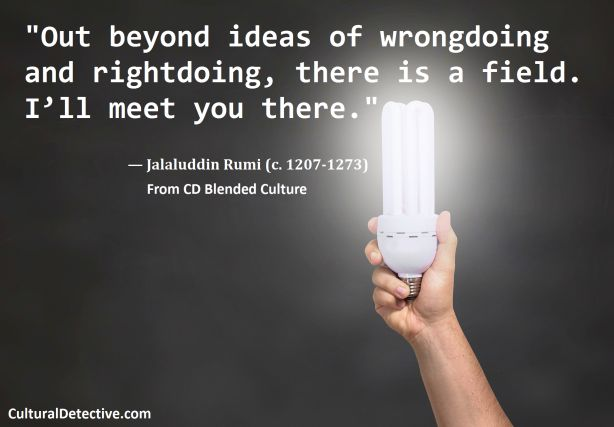 """""""Out beyond ideas of wrongdoing and rightdoing, there is a field. I'll meet you there."""" #Blended Culture #Proverb. Build #intercultural competence by subscribing to #CulturalDetective #leader #team #global #ethics"""