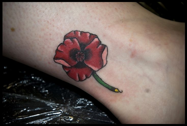 poppy flower tattoo on ankle