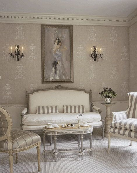 Love everything about this room...the stenciled walls, the painting, colors, furnishings
