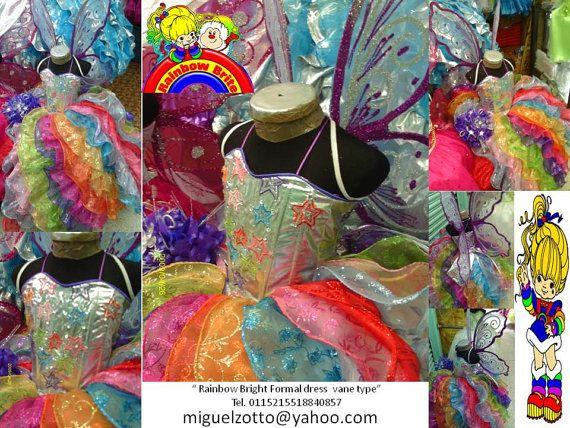 Vestido de la arco iris brillante bruja Disney Princess hadas fiesta desfile de Dama de honor medieval mariposa graduación traje de quinceanera