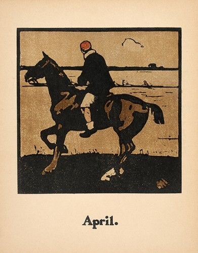 NICHOLSON, William. April [boating]. #lithograph #vintage #sports #horse #racing
