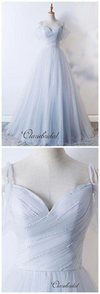 Simple Design A-line Tulle Wedding Dresses, Beaded Wedding Dresses, Fa – Clair…