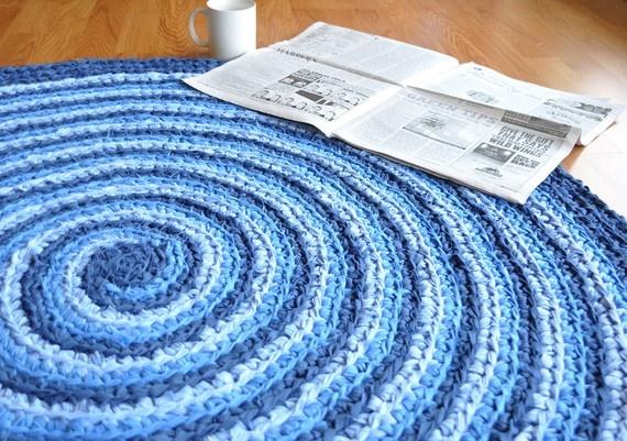 spiral crocheted rag rug