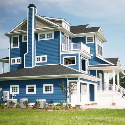 Love bright blue exterior photos blue house design for Right house