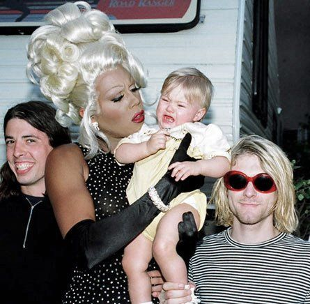 Dave Grohl, RuPaul along with Kurt and Frances Bean Cobain. This is easily one of the best pictures ever.