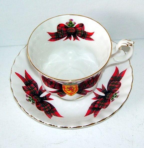 Royal Albert Tartan Red Plaid Scotland Royal Stewart Tea Cup and Saucer