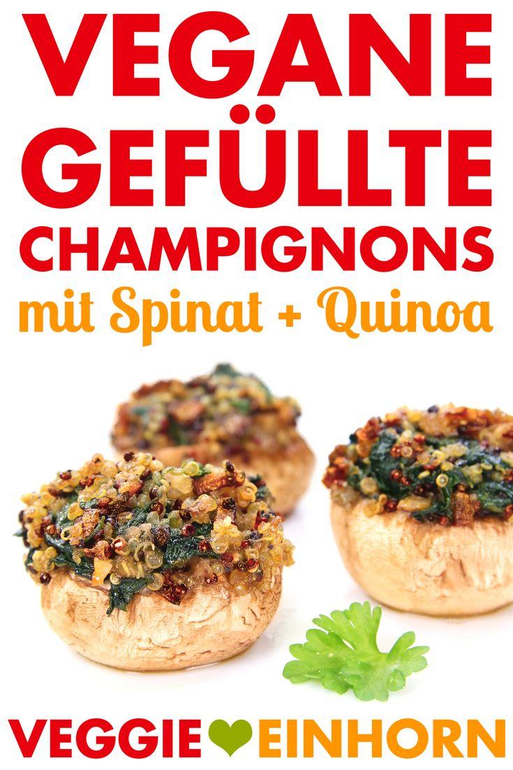 Vegan recheados de cogumelos com espinafre e quinoa