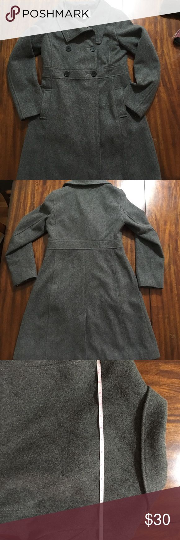 """Grey Old Navy Pea Coat, misses sz. Small Beautiful classic wool-blend Pea Coat from Old Navy with empire waist style. EUC, soft and warm. Measures 14"""" shoulder to shoulder and 35"""" from back collar to hem. Old Navy Jackets & Coats Pea Coats"""