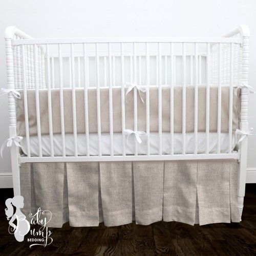 Tan & White Neutral Linen Gender Neutral Baby Crib Bedding Set