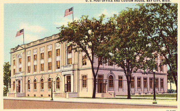 U.S. Post Office and Custom House - Bay City,Michigan Linen Postcard