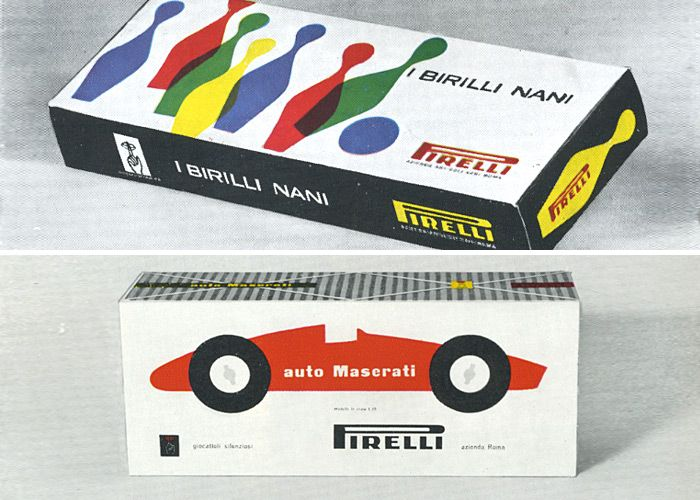 Packaging for Pirelli products, 1957 and 1958.