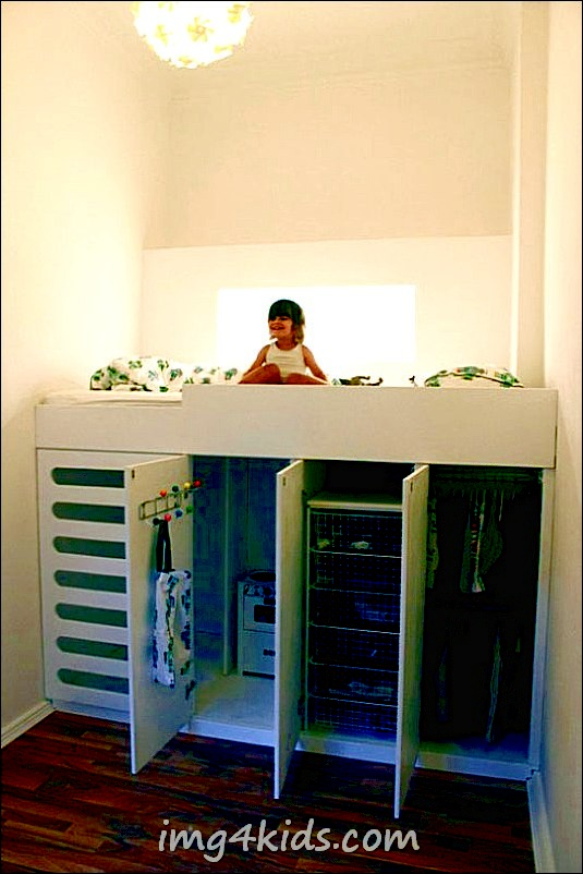 Amazing Loft Bed With A Closet Underneath - Great Space Saving Idea For A Kids Room