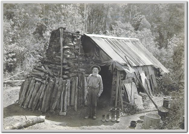 Gold diggers. Richard Penna at home in Woods Point, c. 1915. Victoria Australia