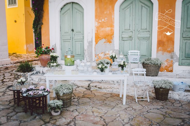 Refreshments table installation at the church. Wedding at Kastellorizo island in collaboration with the12events