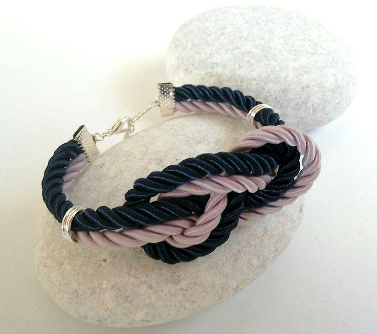 Lilac and blue cord bracelet with knot. https://m.facebook.com/ElitasBijoux?ref=hl&__nodl