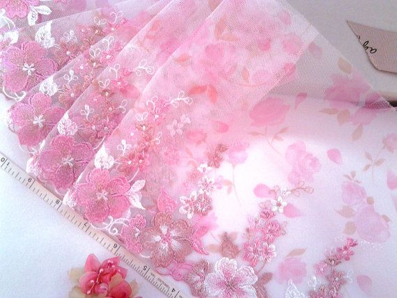 Pink lace embroidered tulle lace embroidered net by raincrazy133, $7.99